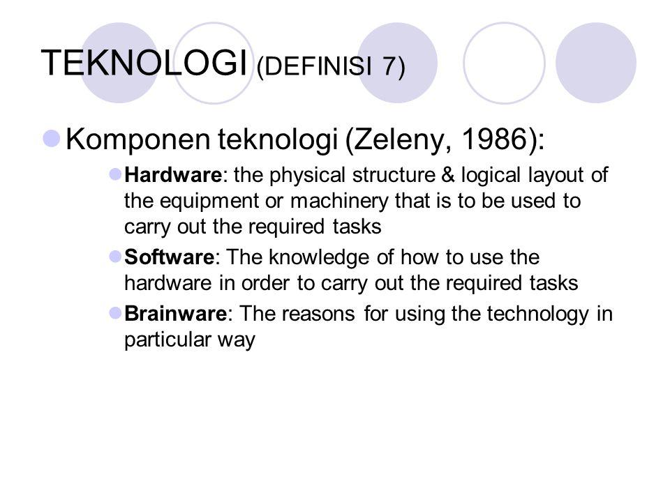TEKNOLOGI (DEFINISI 7) Komponen teknologi (Zeleny, 1986):