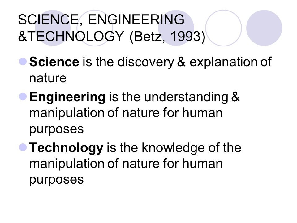 SCIENCE, ENGINEERING &TECHNOLOGY (Betz, 1993)