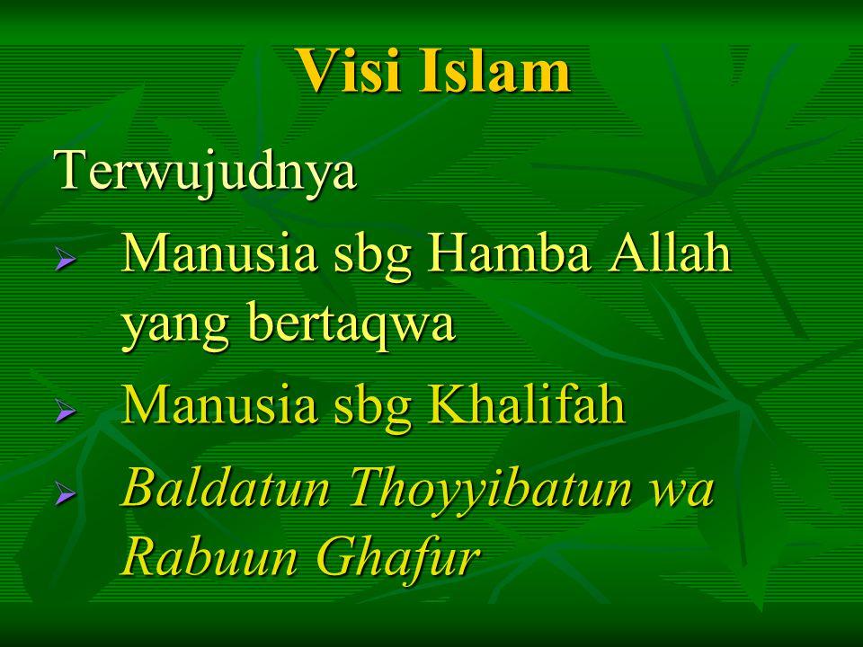 Visi Islam Terwujudnya Manusia sbg Hamba Allah yang bertaqwa
