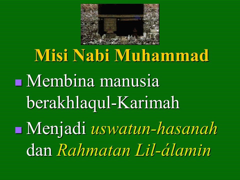 Misi Nabi Muhammad Membina manusia berakhlaqul-Karimah.