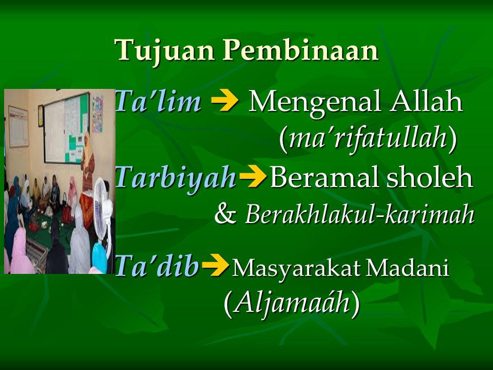 Tujuan Pembinaan Ta'lim  Mengenal Allah. (ma'rifatullah) TarbiyahBeramal sholeh & Berakhlakul-karimah.