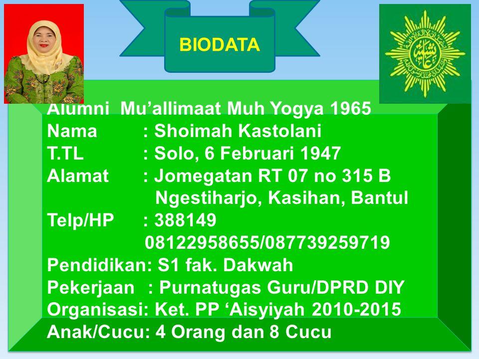 BIODATA Alumni Mu'allimaat Muh Yogya 1965. Nama : Shoimah Kastolani. T.TL : Solo, 6 Februari 1947.