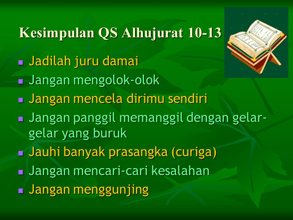 Kesimpulan QS Alhujurat 10-13