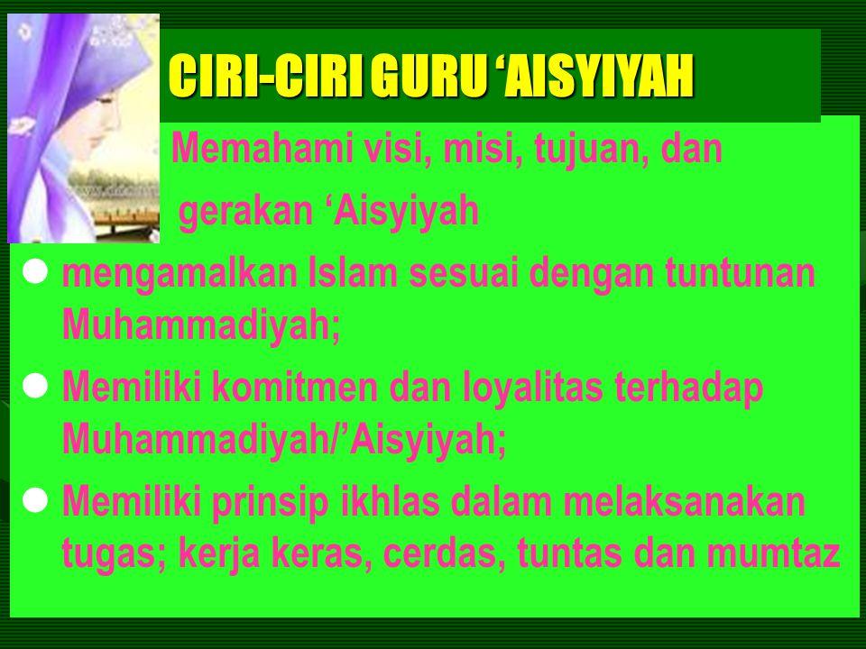CIRI-CIRI GURU 'AISYIYAH