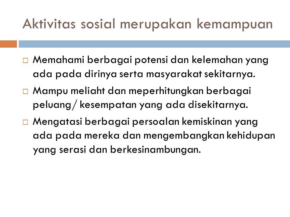 Aktivitas sosial merupakan kemampuan