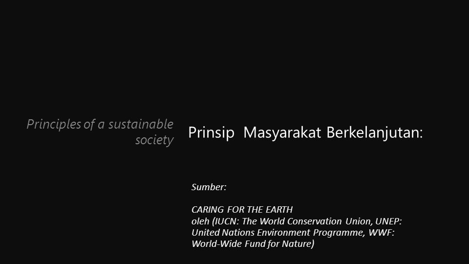Principles of a sustainable society