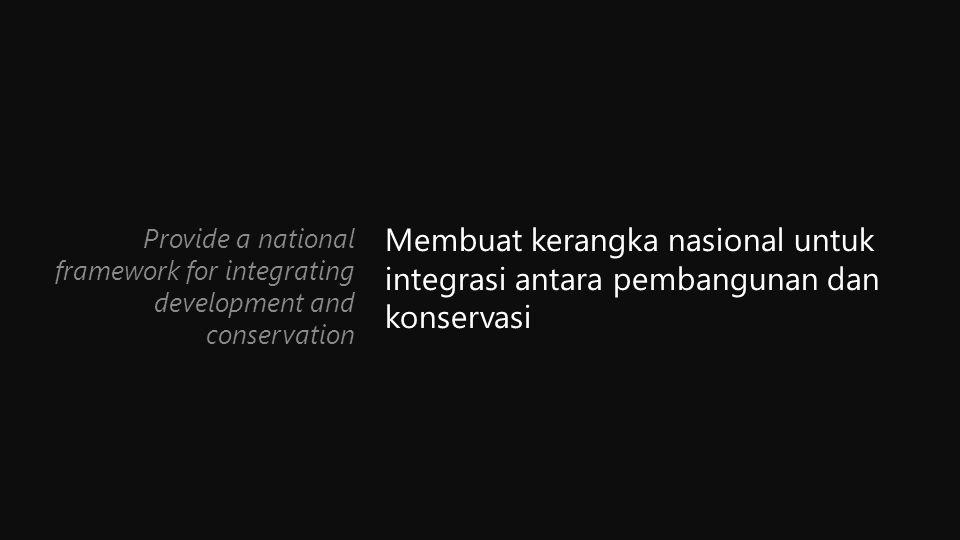 Membuat kerangka nasional untuk integrasi antara pembangunan dan konservasi