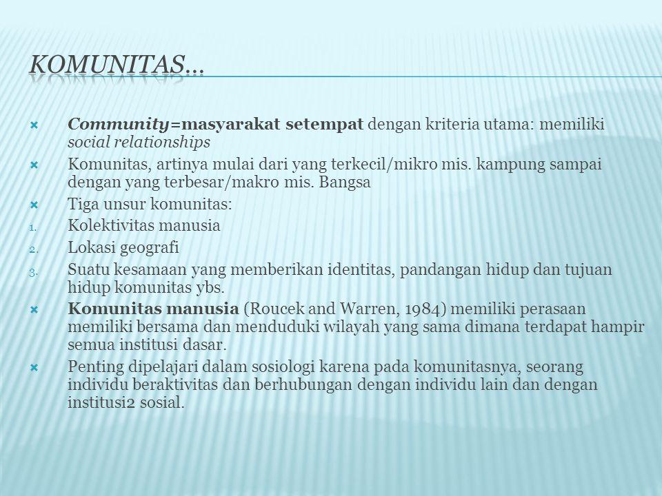 Komunitas… Community=masyarakat setempat dengan kriteria utama: memiliki social relationships.