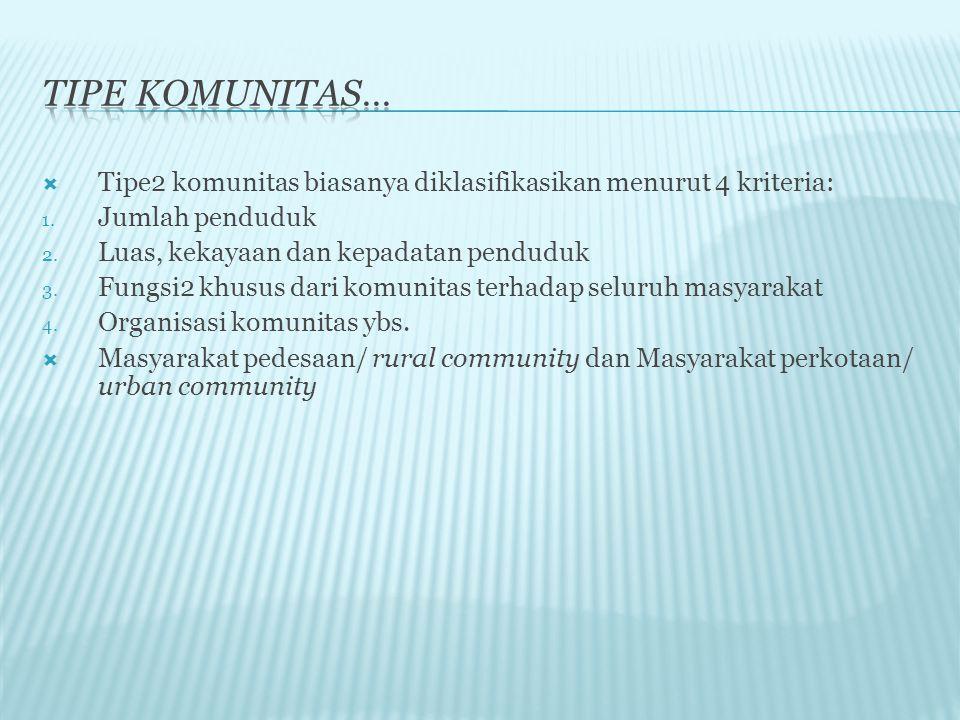 Tipe komunitas… Tipe2 komunitas biasanya diklasifikasikan menurut 4 kriteria: Jumlah penduduk. Luas, kekayaan dan kepadatan penduduk.