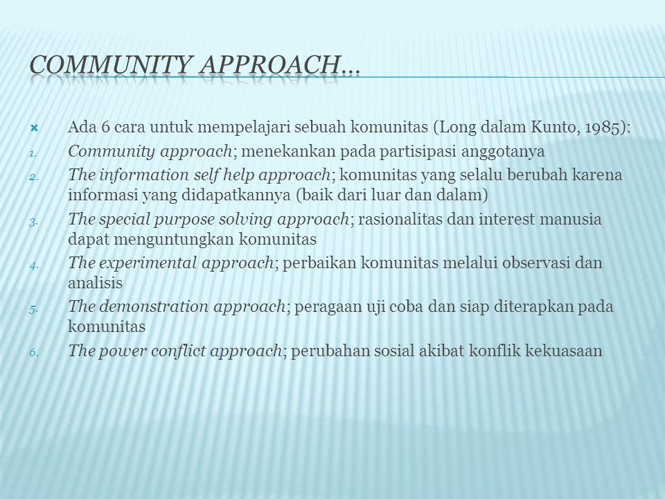 Community approach… Ada 6 cara untuk mempelajari sebuah komunitas (Long dalam Kunto, 1985):