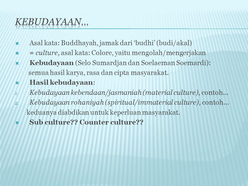 Kebudayaan… Asal kata: Buddhayah, jamak dari 'budhi' (budi/akal)