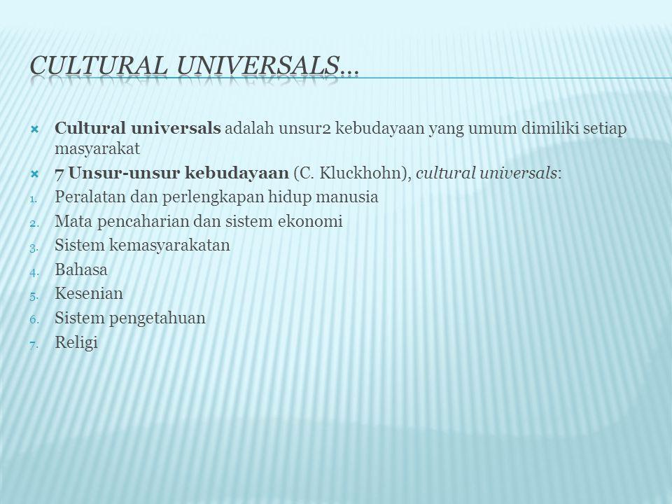 Cultural universals… Cultural universals adalah unsur2 kebudayaan yang umum dimiliki setiap masyarakat.