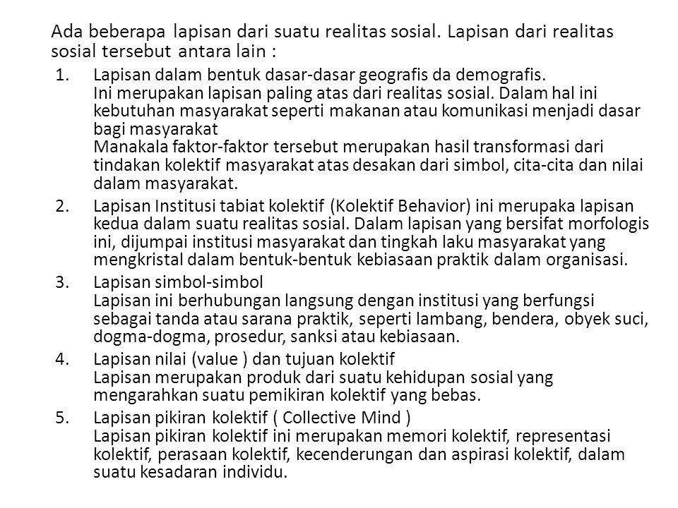 Ada beberapa lapisan dari suatu realitas sosial