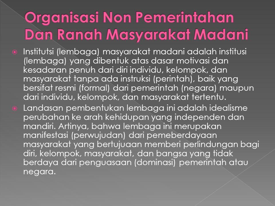 Organisasi Non Pemerintahan Dan Ranah Masyarakat Madani