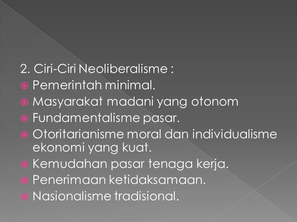 2. Ciri-Ciri Neoliberalisme :