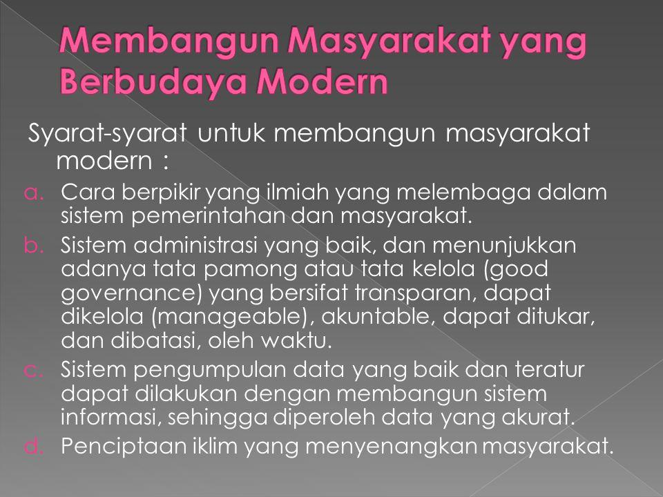 Membangun Masyarakat yang Berbudaya Modern
