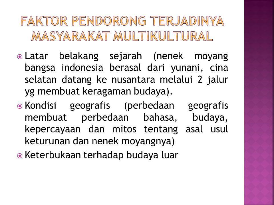 Faktor pendorong terjadinya masyarakat multikultural