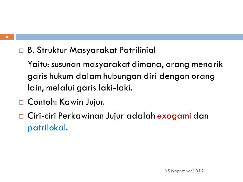 B. Struktur Masyarakat Patrilinial