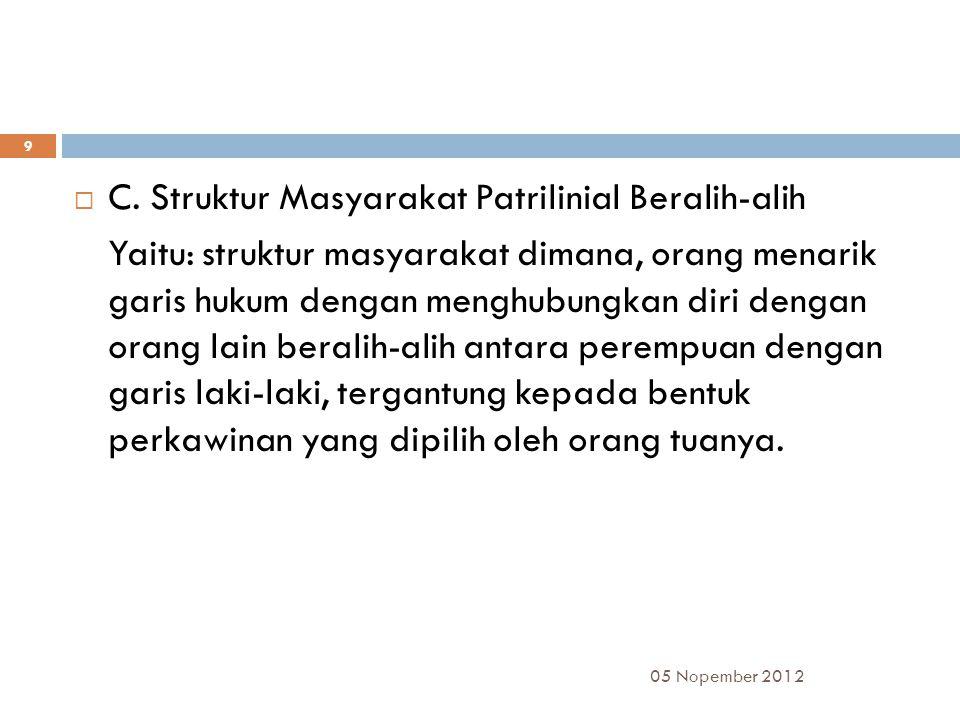 C. Struktur Masyarakat Patrilinial Beralih-alih