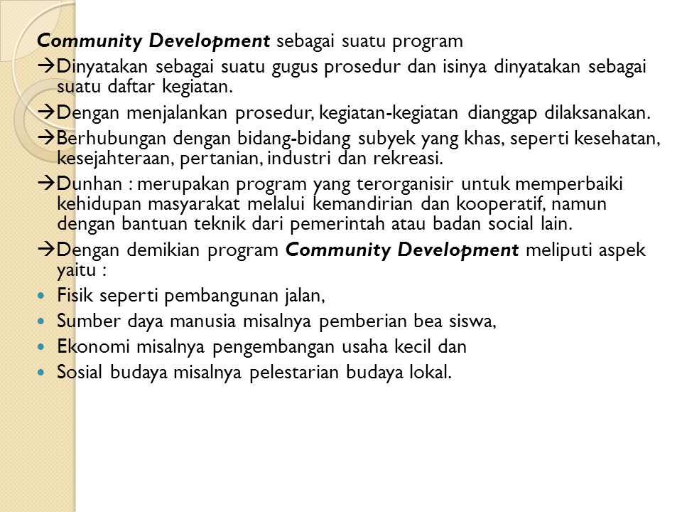 Community Development sebagai suatu program