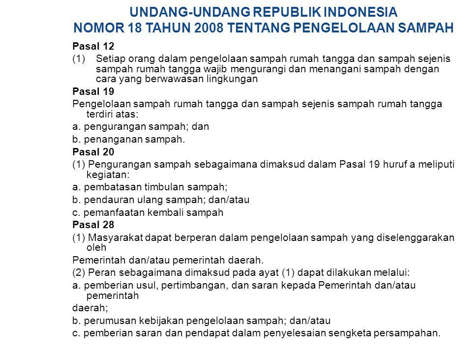 UNDANG-UNDANG REPUBLIK INDONESIA NOMOR 18 TAHUN 2008 TENTANG PENGELOLAAN SAMPAH