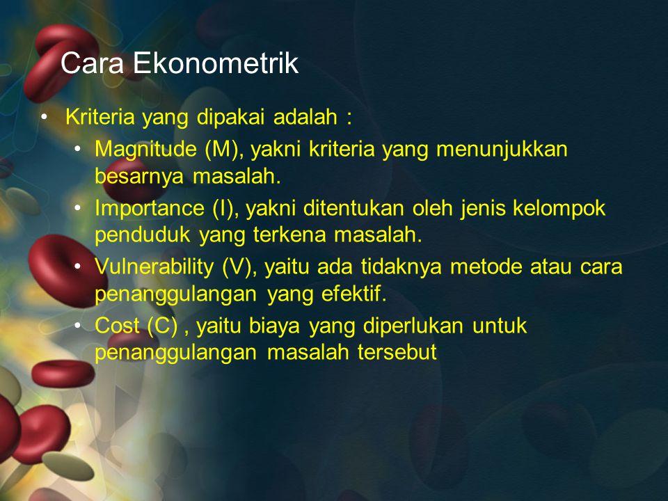 Cara Ekonometrik Kriteria yang dipakai adalah :
