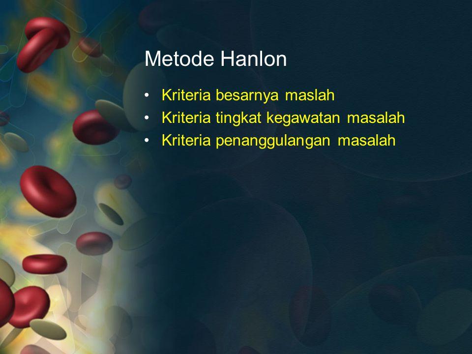 Metode Hanlon Kriteria besarnya maslah