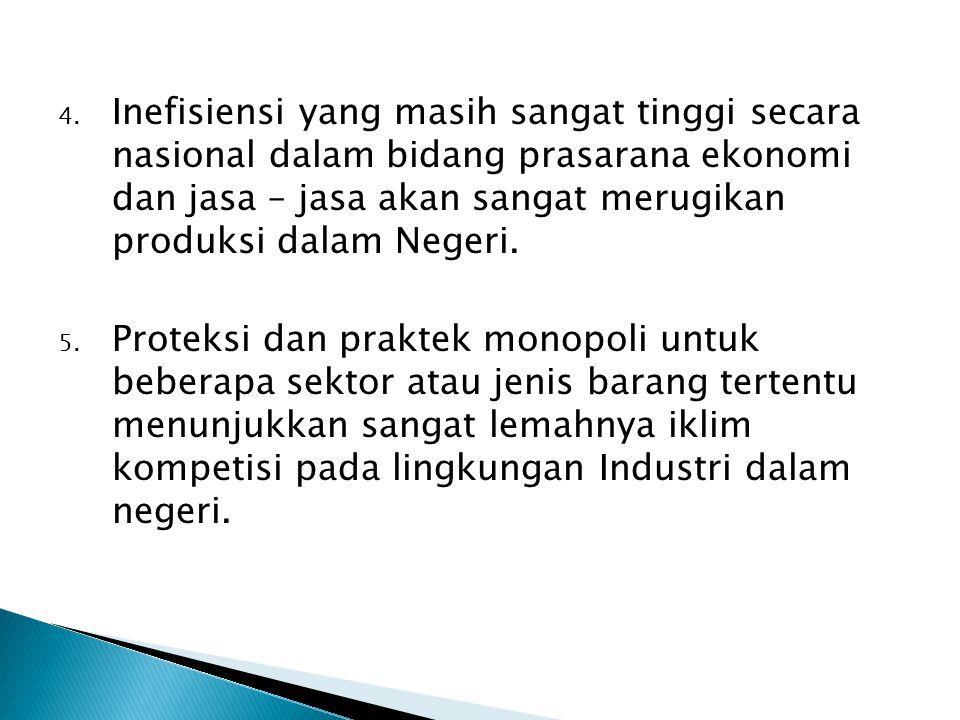 Inefisiensi yang masih sangat tinggi secara nasional dalam bidang prasarana ekonomi dan jasa – jasa akan sangat merugikan produksi dalam Negeri.