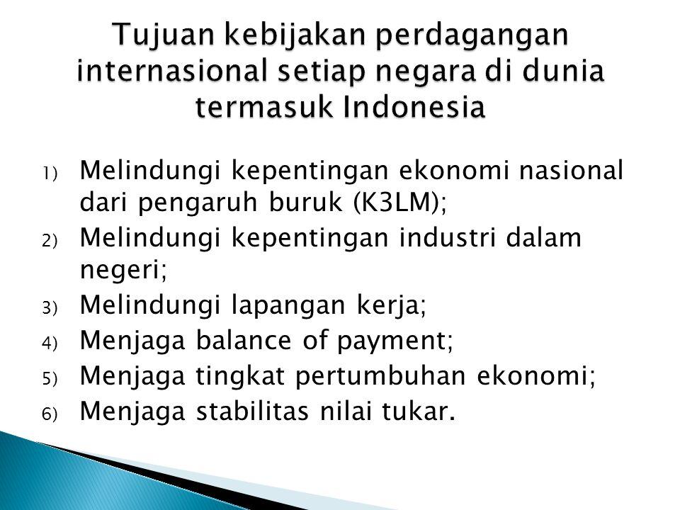 Tujuan kebijakan perdagangan internasional setiap negara di dunia termasuk Indonesia