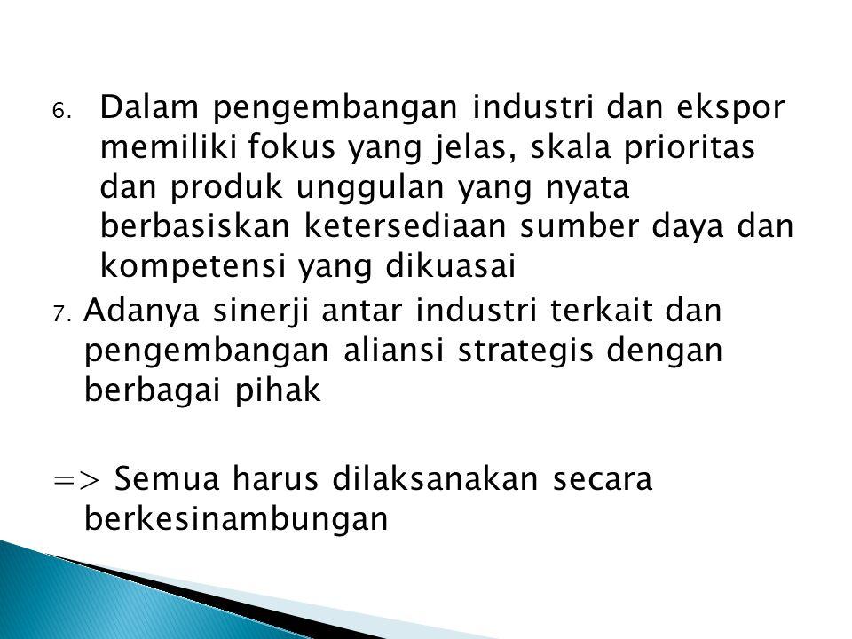 Dalam pengembangan industri dan ekspor memiliki fokus yang jelas, skala prioritas dan produk unggulan yang nyata berbasiskan ketersediaan sumber daya dan kompetensi yang dikuasai