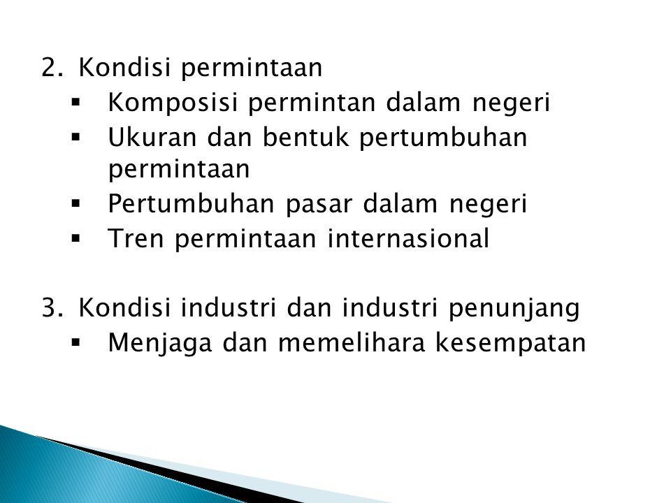 Kondisi permintaan Komposisi permintan dalam negeri. Ukuran dan bentuk pertumbuhan permintaan. Pertumbuhan pasar dalam negeri.
