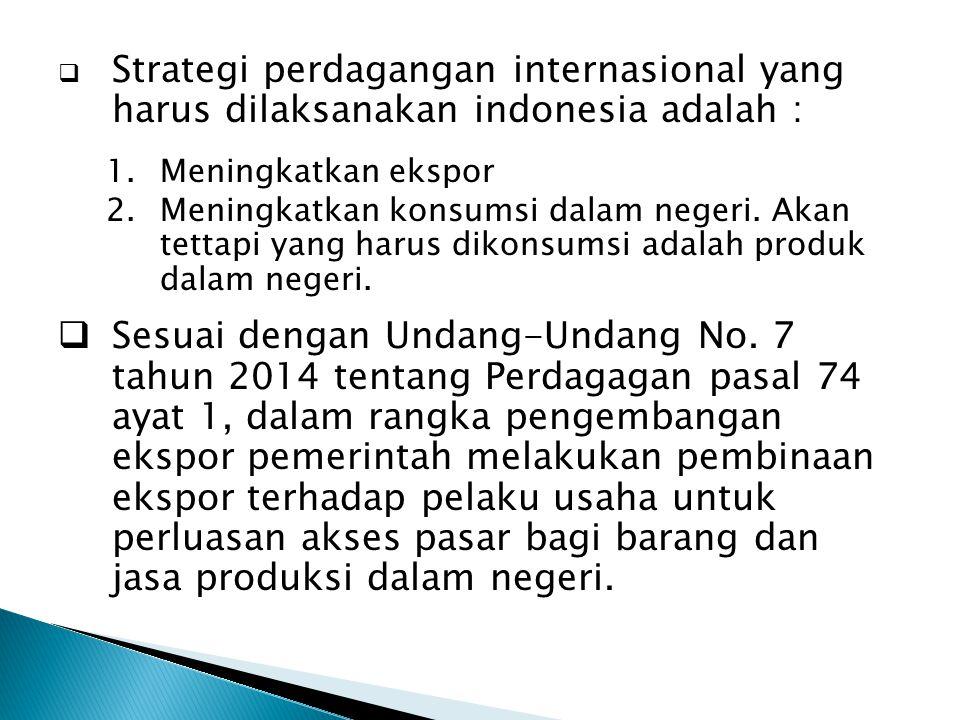 Strategi perdagangan internasional yang harus dilaksanakan indonesia adalah :