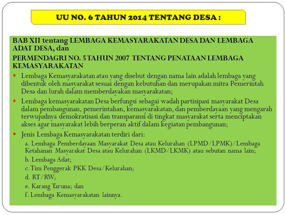 UU NO. 6 TAHUN 2014 TENTANG DESA :
