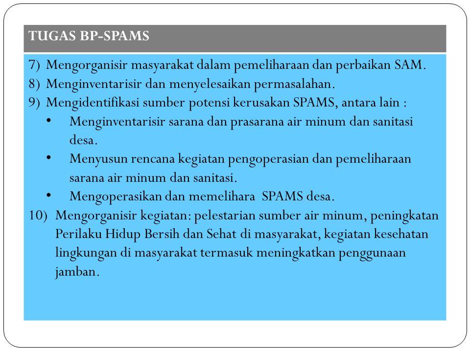 TUGAS BP-SPAMS Mengorganisir masyarakat dalam pemeliharaan dan perbaikan SAM. Menginventarisir dan menyelesaikan permasalahan.