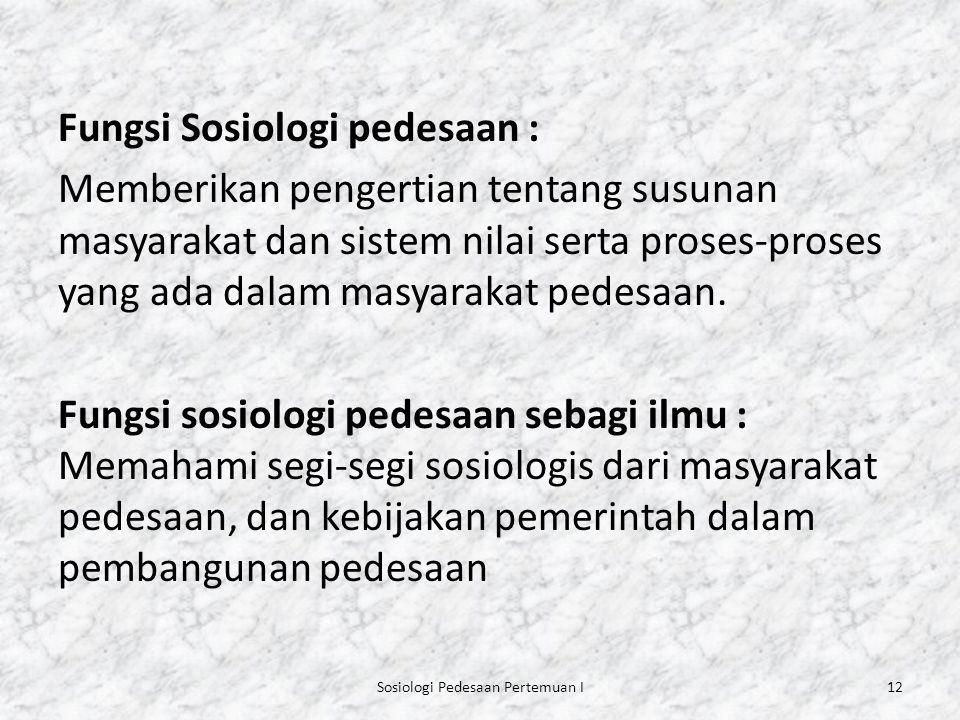 Sosiologi Pedesaan Pertemuan I