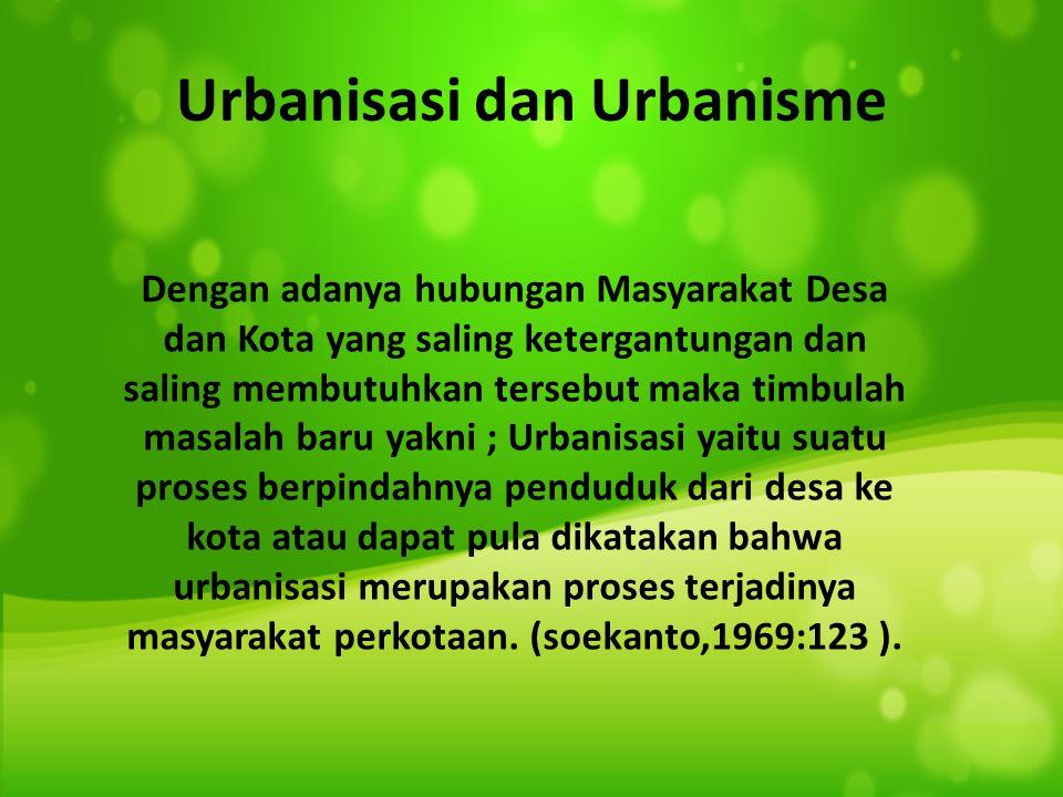 Urbanisasi dan Urbanisme