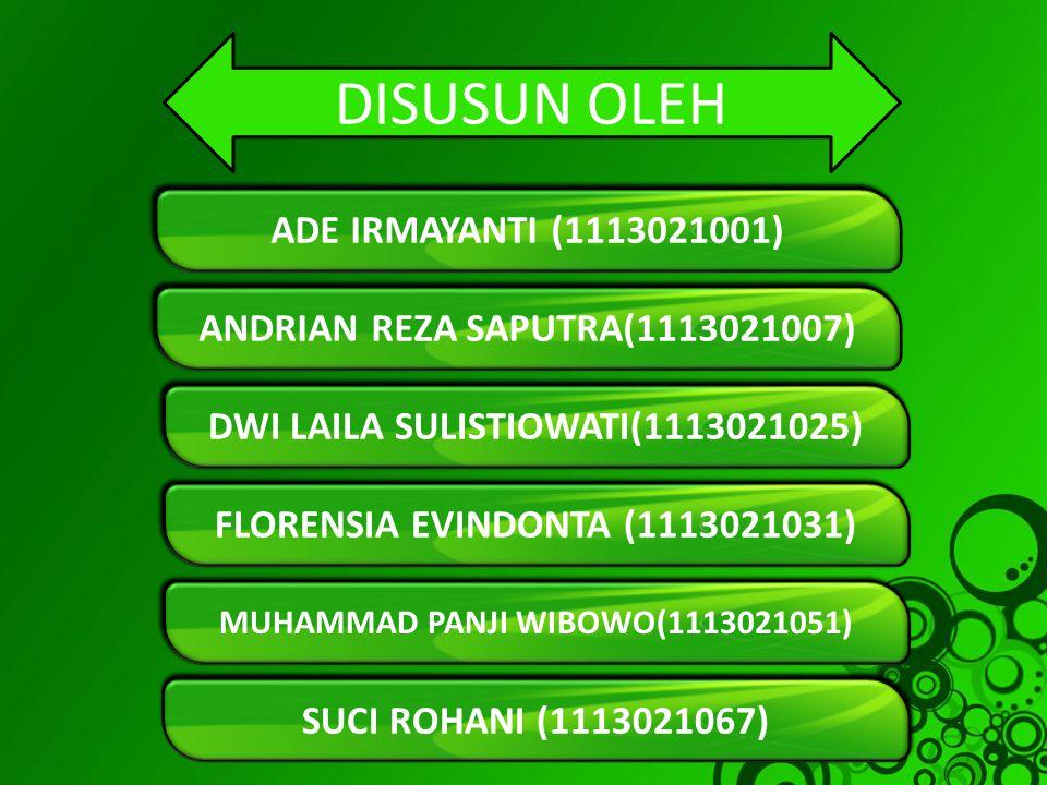 DISUSUN OLEH ADE IRMAYANTI (1113021001)