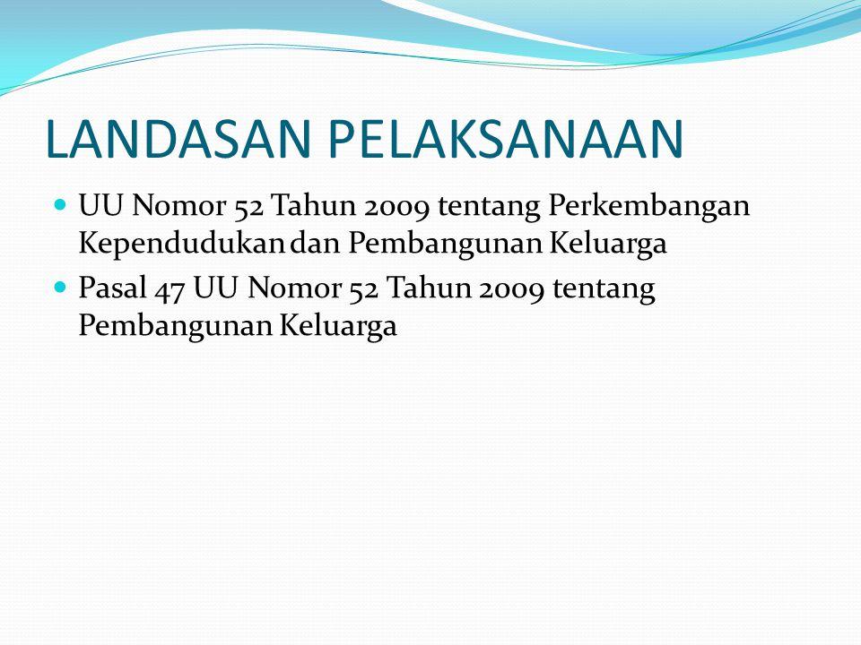 LANDASAN PELAKSANAAN UU Nomor 52 Tahun 2009 tentang Perkembangan Kependudukan dan Pembangunan Keluarga.