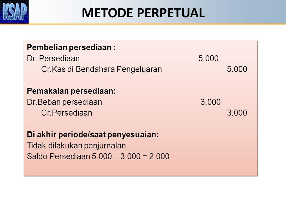 METODE PERPETUAL Pembelian persediaan : Dr. Persediaan 5.000