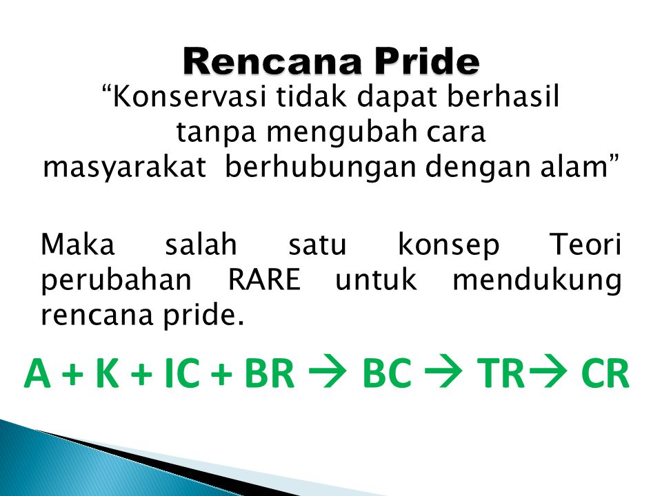 A + K + IC + BR  BC  TR CR Rencana Pride