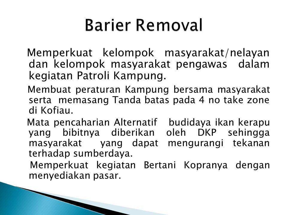 Barier Removal Memperkuat kelompok masyarakat/nelayan dan kelompok masyarakat pengawas dalam kegiatan Patroli Kampung.