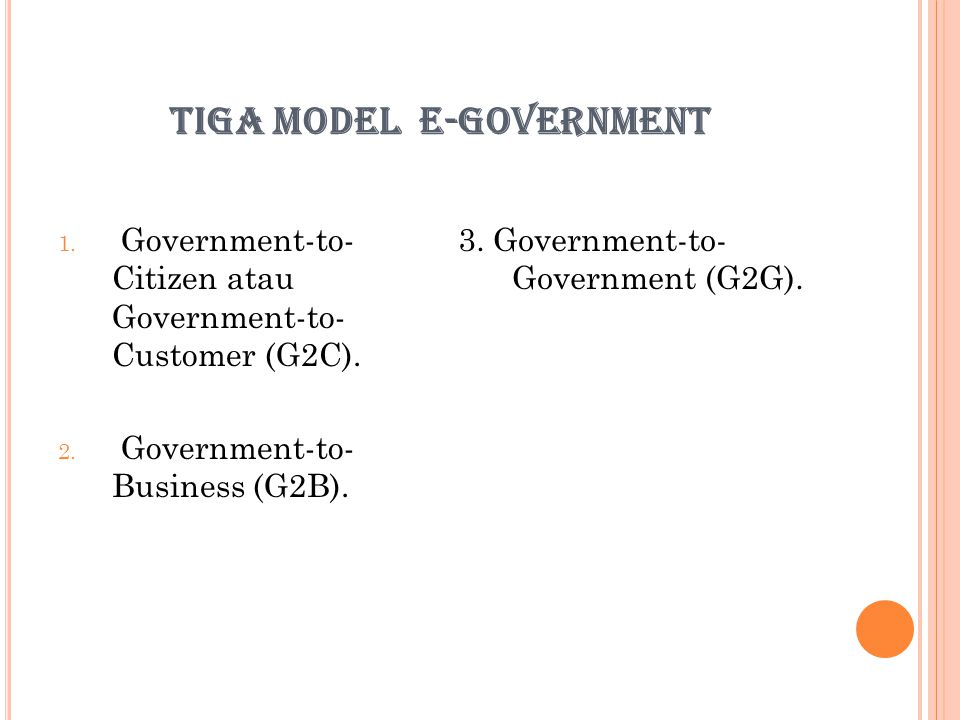 TIGA MODEL E-GOVERNMENT