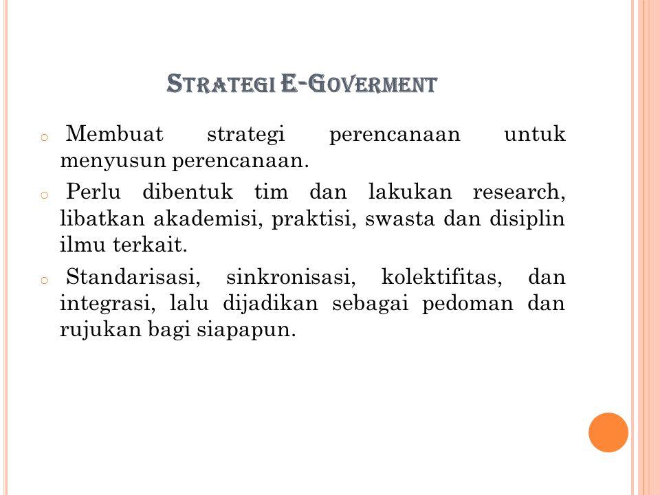 Strategi E-Goverment Membuat strategi perencanaan untuk menyusun perencanaan.