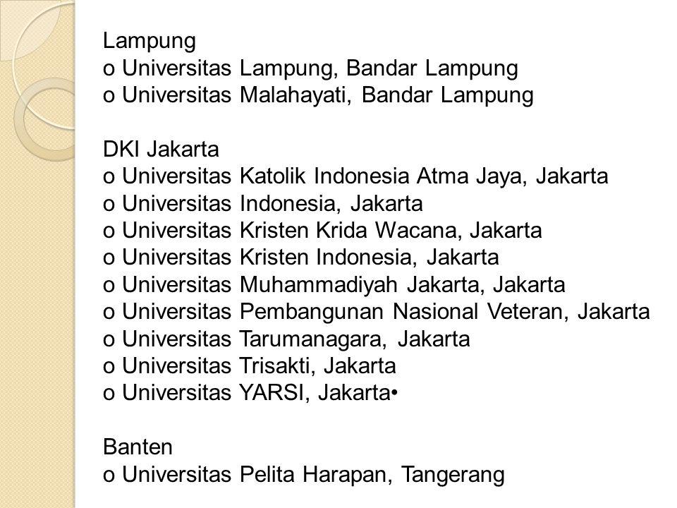 Lampung o Universitas Lampung, Bandar Lampung. o Universitas Malahayati, Bandar Lampung. DKI Jakarta