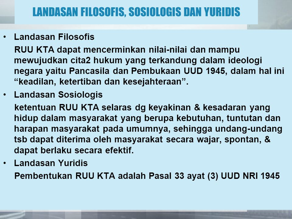 LANDASAN FILOSOFIS, SOSIOLOGIS DAN YURIDIS