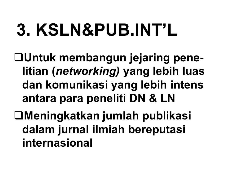 3. KSLN&PUB.INT'L Untuk membangun jejaring pene- litian (networking) yang lebih luas dan komunikasi yang lebih intens antara para peneliti DN & LN.