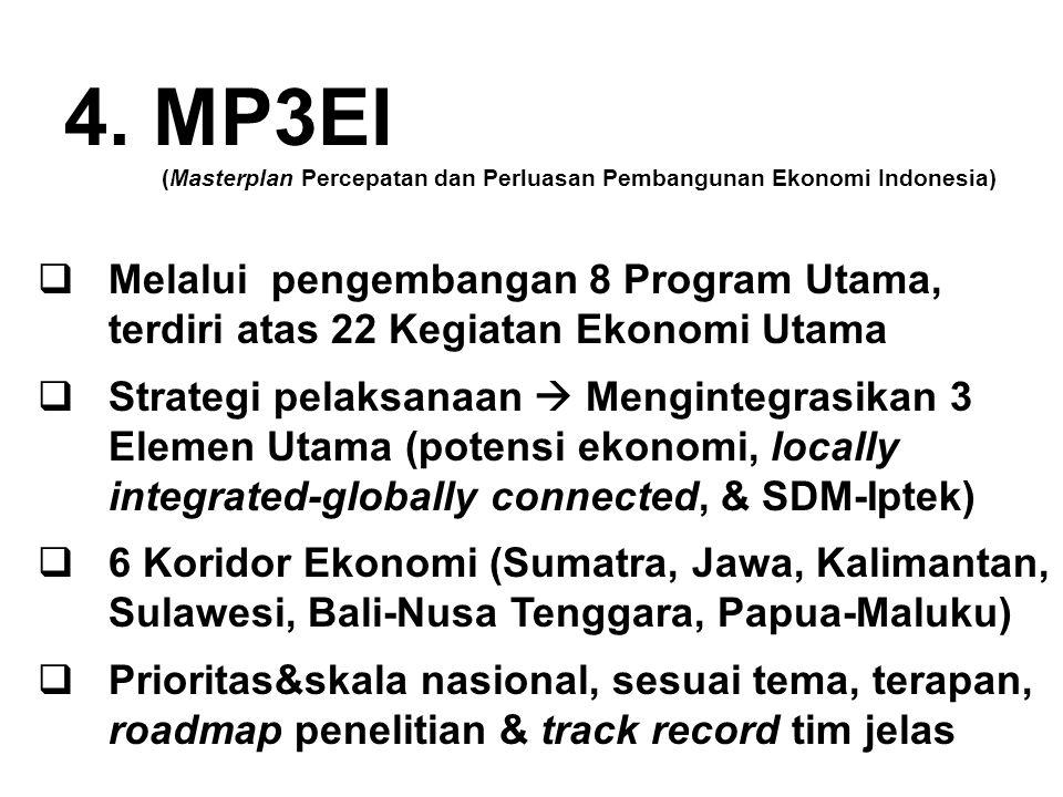 4. MP3EI (Masterplan Percepatan dan Perluasan Pembangunan Ekonomi Indonesia)