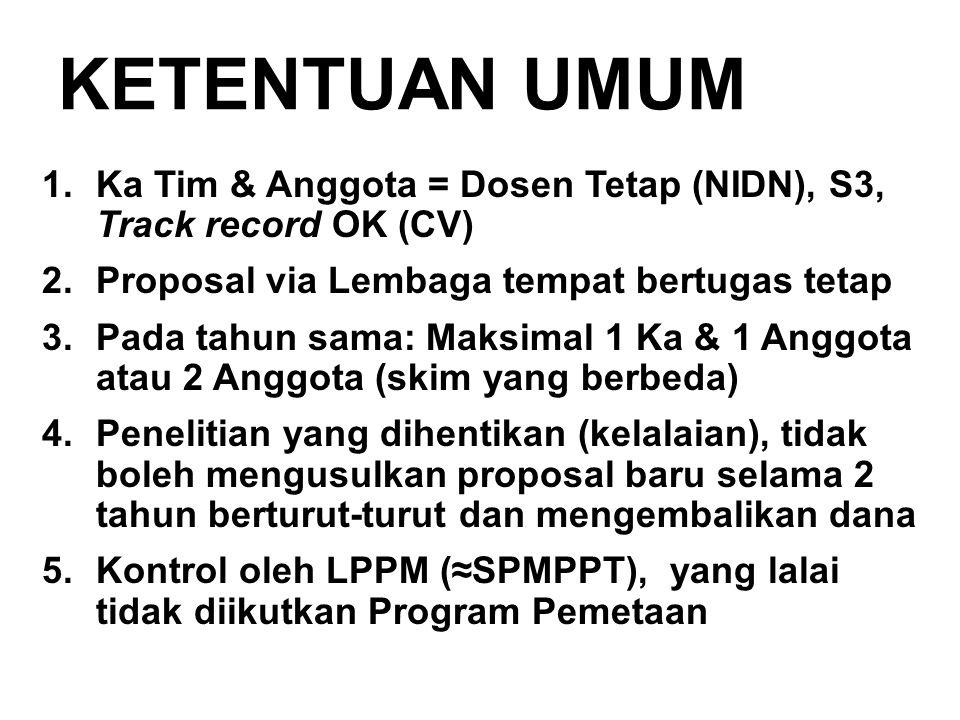 KETENTUAN UMUM Ka Tim & Anggota = Dosen Tetap (NIDN), S3, Track record OK (CV) Proposal via Lembaga tempat bertugas tetap.