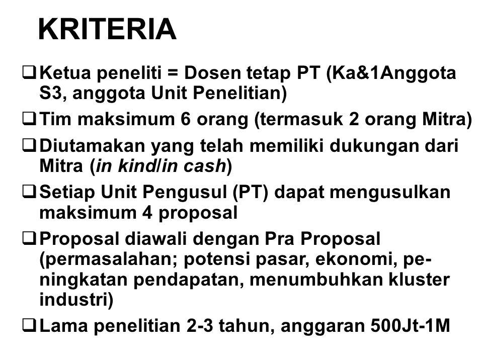 KRITERIA Ketua peneliti = Dosen tetap PT (Ka&1Anggota S3, anggota Unit Penelitian) Tim maksimum 6 orang (termasuk 2 orang Mitra)
