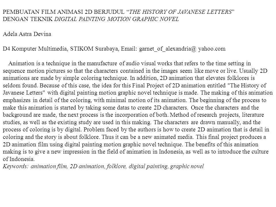 PEMBUATAN FILM ANIMASI 2D BERJUDUL THE HISTORY OF JAVANESE LETTERS